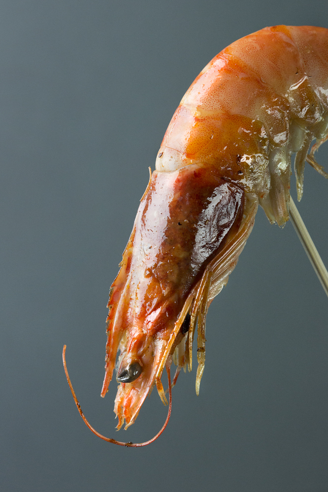 Cooked king prawn on a skewer, Liverpool, Southport, Preston Food Photographer UK, Fish