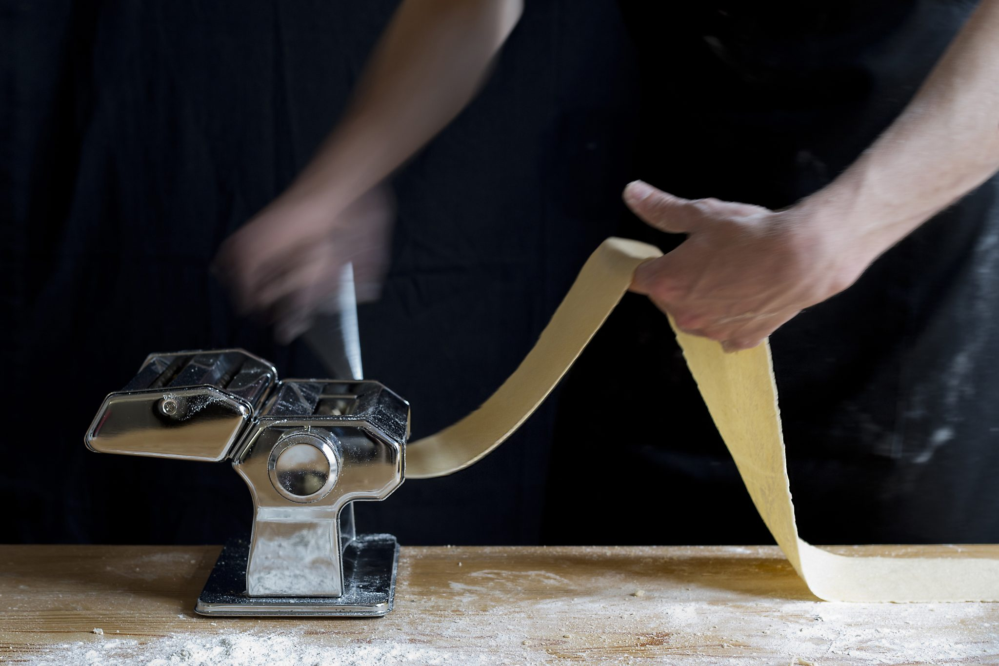 Food photography, making pasta, past machine
