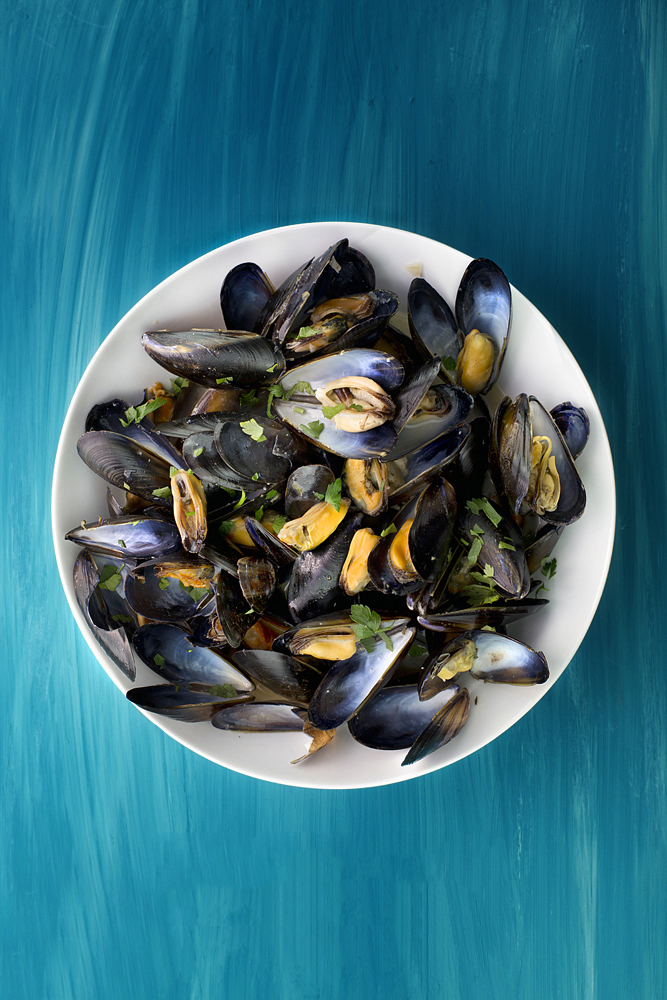 Seafood, muscles, fruit de mare, food photographer uk, Scottish muscles