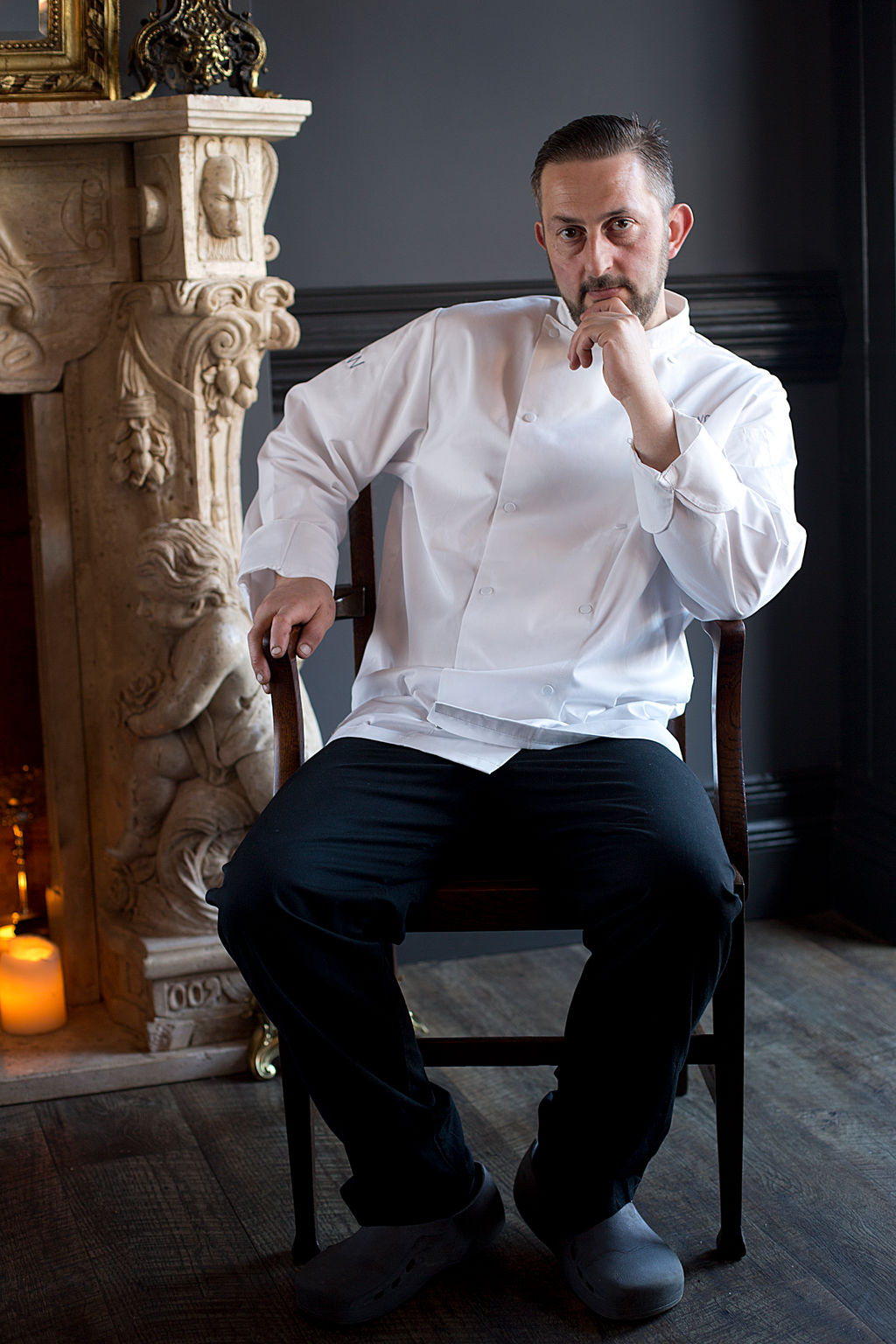 Chef portait UK, photograph of chef seated