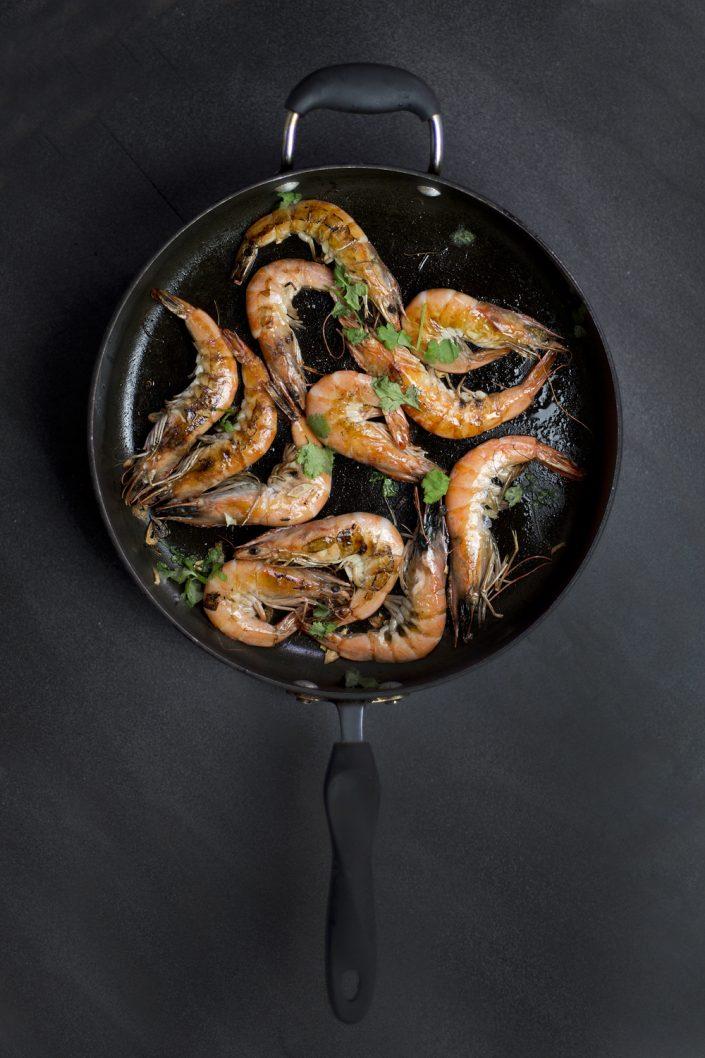 King prawn in a pan, Liverpool, Southport, Preston Food Photographer UK, Fish